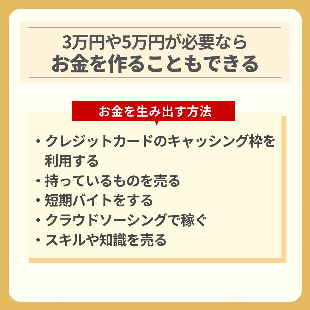 3万円や5万円が必要ならお金を作ることもできる!